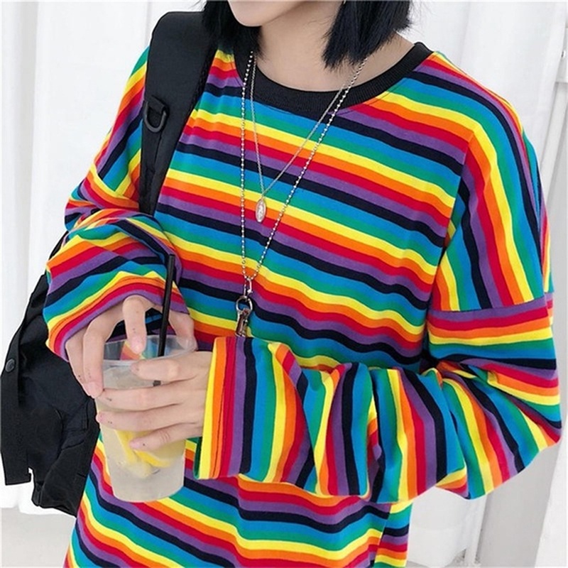 Women Colorful Striped Rainbow Sweater Jumper Long Sleeve O-neck Loose Colorful Pull Knitwear Female Autumn Pullovers Pull Femme