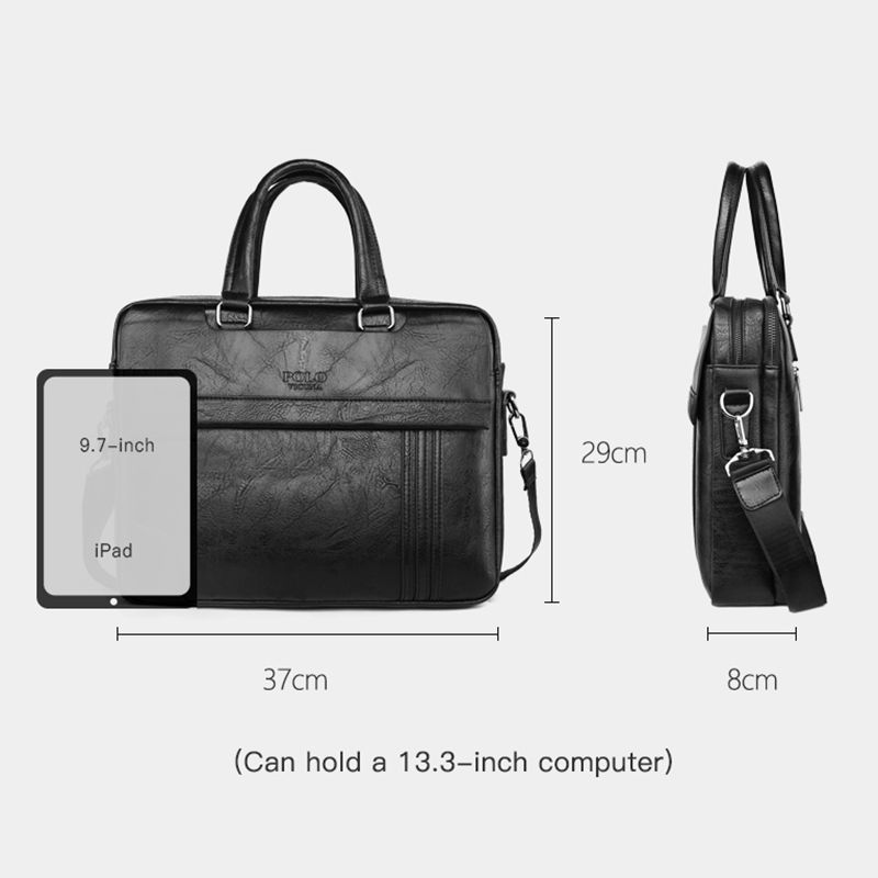 Vicuña POLO bolso de cuero de gran capacidad para hombre, bolso clásico para oficina de negocios, bolso de hombro para hombre, bolso para hombre, nueva llegada - 6