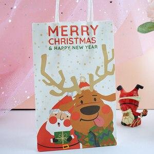 Image 4 - 6 sztuk/partia wesołych świąt bożego narodzenia torby papierowe z papieru pakowego Christmas Party nowy rok dekoracje świąteczne na prezenty z papieru Goodie torby do pakowania Dropship