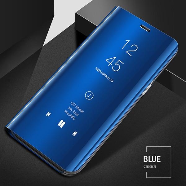 Смарт mi rror флип чехол для Xiao mi Red mi Note 8 7 K20 5 6 Pro 4X5 Plus 5A 8A 7A S2 кожаный чехол для mi 9 9T Pro 8 SE A1 A2 чехол - Цвет: Blue