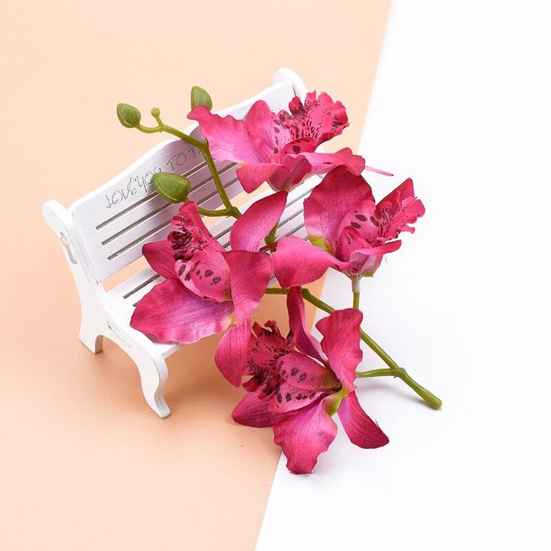 4 головки/комплект тайская орхидея свадебные декоративные цветы венки скрапбукинг украшения дома аксессуары Искусственные цветы дешево