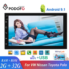 Podofo Car Radio Android 9.1 2din Car Multimedia MP5 Player GPS Navi 3G WIFI Autoradio 7'' Touch Screen Bluetooth FM Car Stereo