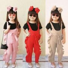 Новая горячая Распродажа для детей для маленьких девочек Плиссированное комбинезон комбинезоны в одинаковом стиле, осень, модные Повседневное Комплекты одежды
