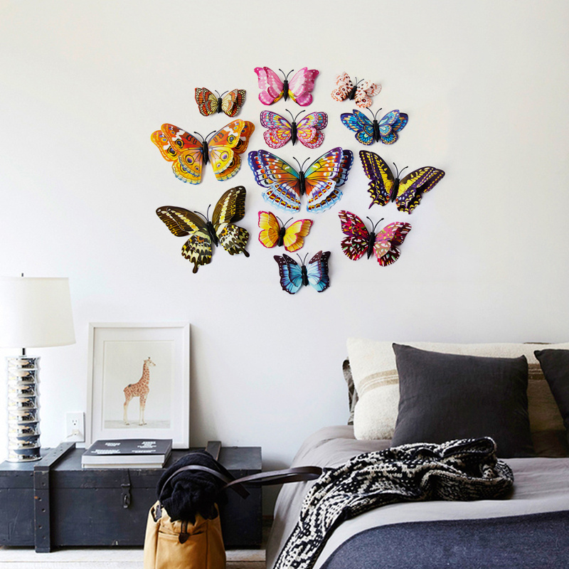 12pcs 3D Stereoscopic Mirror Butterfly Wall Stickers Party DIY Decorations NEW