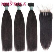 מיס רולה ישר שיער פרואני שיער חבילות עם סגירת 100% Huaman שיער 3 חבילות 8 26 Inch רמי שיער תוספות
