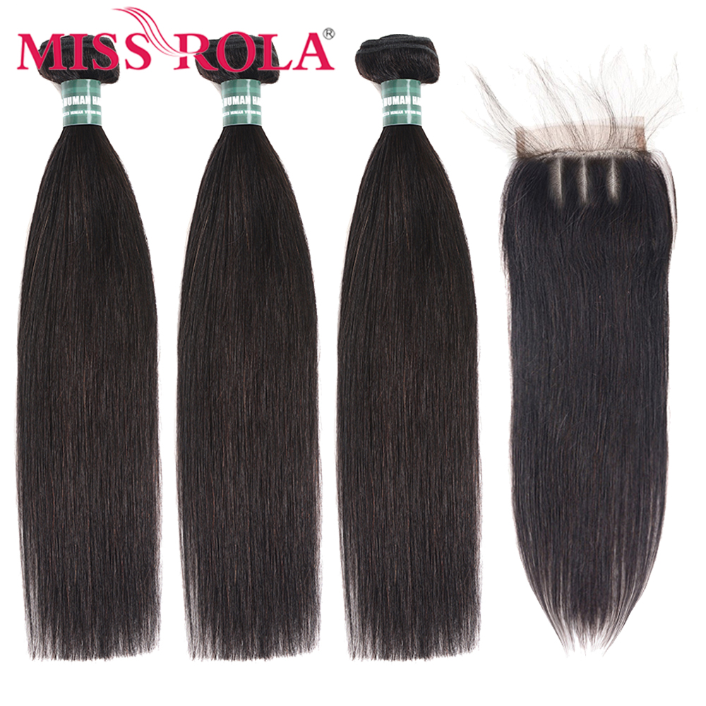 Miss Rola Straight Hair Peruvian Hair Bundles With Closure 100% Huaman Hair 3 Bundles 8-26 Inch Remy Hair Extensions