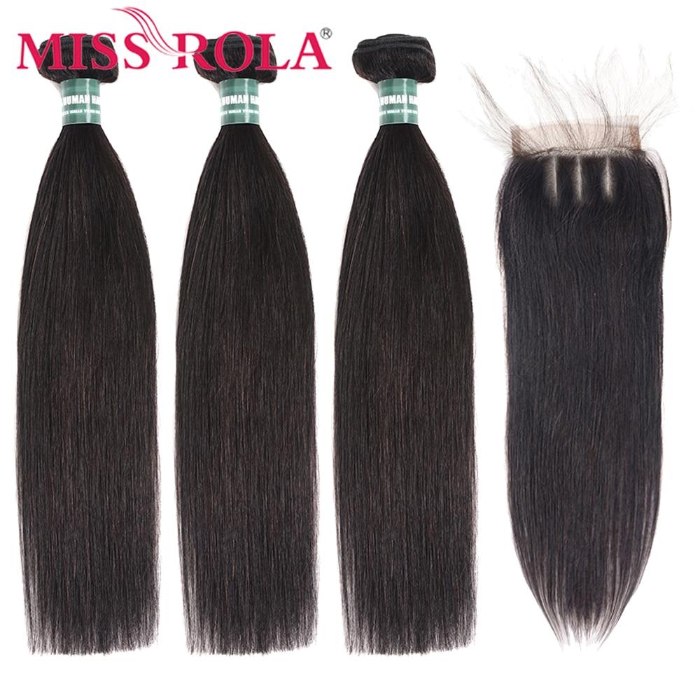 Miss Rola Straight Hair Peruvian Hair Bundles With Closure 100% Huaman Hair 3 Bundles 8-26 Inch Remy Hair Extensions