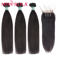 Miss Rola Straight Hair Peruvian Hair Bundles with Closure 100% Huaman Hair 3 Bundles 8 26 Inch Remy Hair Extensions