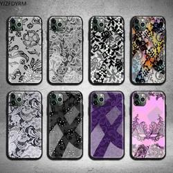 Сексуальный кружевной чехол для телефона с цветочным узором, закаленное стекло для iPhone 11 Pro XR XS MAX 8X7 6S 6 Plus SE 2020