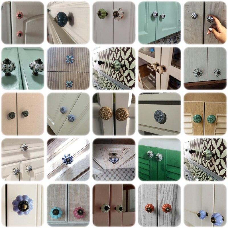 1 шт., шкаф для одежды, разные цвета, керамическая фурнитура, в старинном стиле, керамические ручки для сада, Европейский стиль, Ретро стиль, фарфоровые дверные ручки для выдвижных ящиков