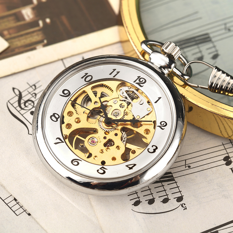 Luxury Retro Mechanical Pocket Watch Chain Skeleton Luxury Hand Winding Metal Fob Clock Relogio De Bolso Gifts For Men Woman