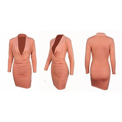 Deep V Neck Sexy Dress Women Long Sleeve Bodycon Elegant Midi Office Dress Autumn Winter Solid Warm Female Evening Party Dresses 8
