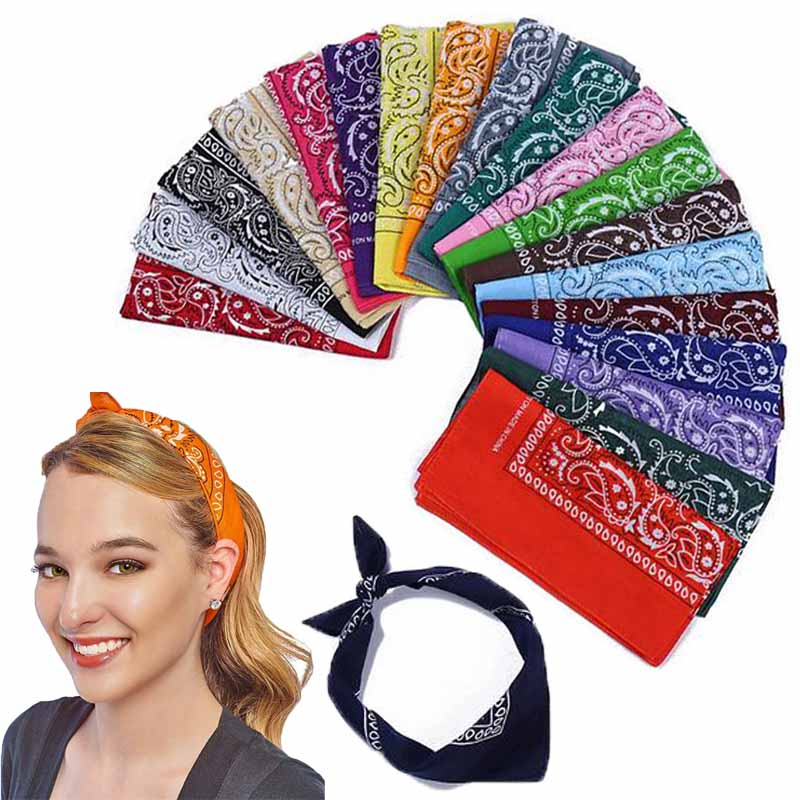Multifunction Paisley Bandana Headscarf Fashion Hip Hop Cotton Headband Printed Square Scarf Handkerchief For Women Men Children