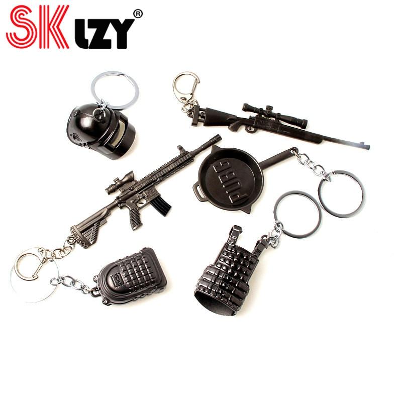 PUBG jeu pistolet pendentif porte-clés Cool hommes métal arme modèle AK47 M16 M4A1 AWM pistolets porte-clés pour CSGO porte-clés