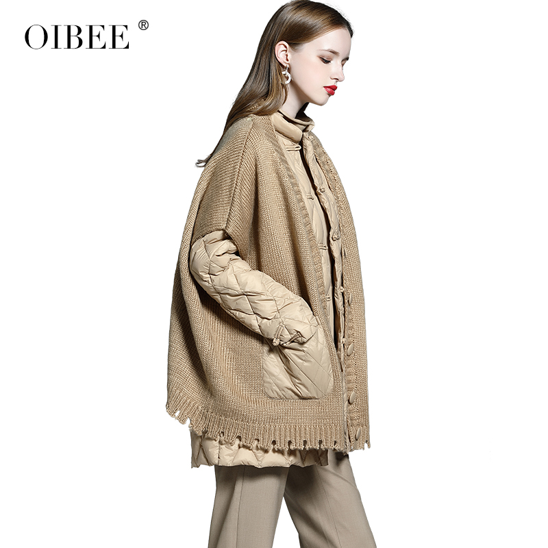 OIBEE2019 Winter Women's Casual Fake Two Down Jacket Coat Loose Long Sleeve Short Stitching Jacket Female