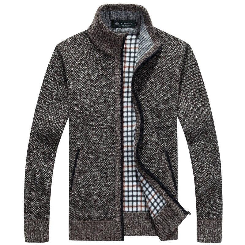 2020 New Men Zipper Sweaters Autumn Winter Warm Fashion Brand Sweater Jackets Cardigan Coats Male Clothing Casual Knitwear J012