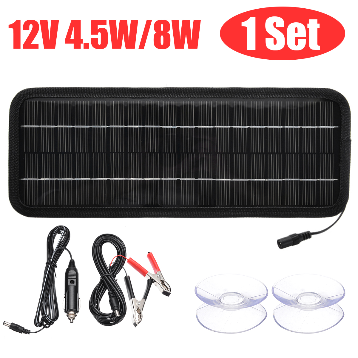 4.5W 8W 12V Portable Car Boat Motorcycle Solar Panel Battery Charger Trickle Supplement Charging Solar Power Panel 320x120x5 Mm