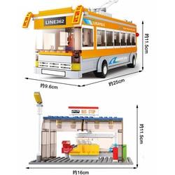 Self-Locking Bricks City Technic Line Tram Bus & Bus Stop Station Model Building Blocks Toys For Children Birthday Technic Car