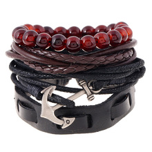 2019 New Fashion Black Leather Beads Anchor Bracelets Men Charm Survival Rope Chain Braided Bracelet Male Wrap Metal Sport Hooks mkendn 2017 fashion stainless steel anchor bracelet men black braided cowhide leather rope bracelets wrap punk charm jewelry