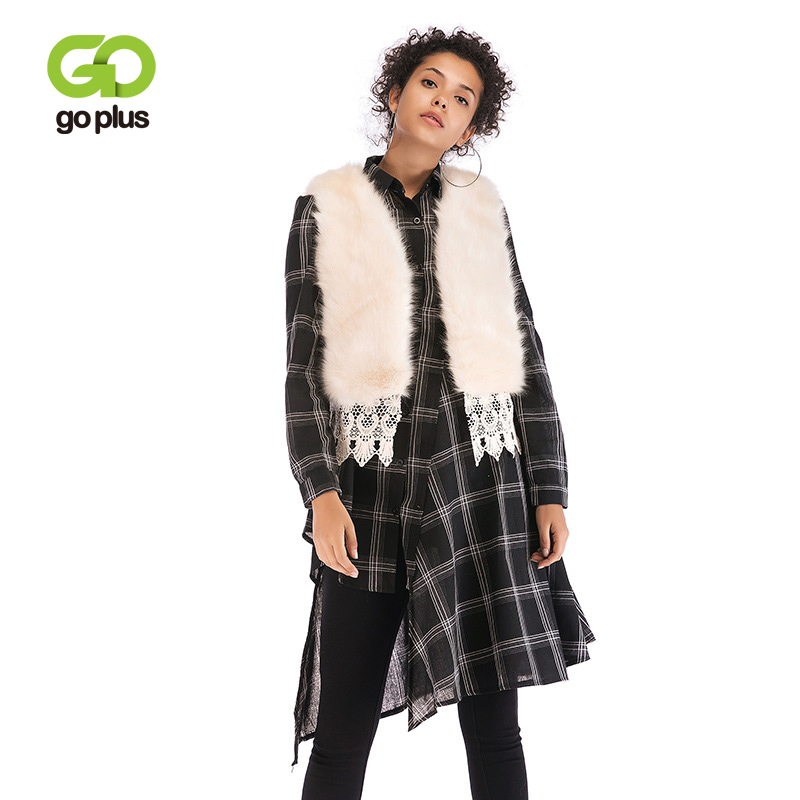 GOPLUS Faux Fur Coat Women Winter Casual V-neck Short Slim Sleeveless Patchwork Lace Vest Jacket C8160