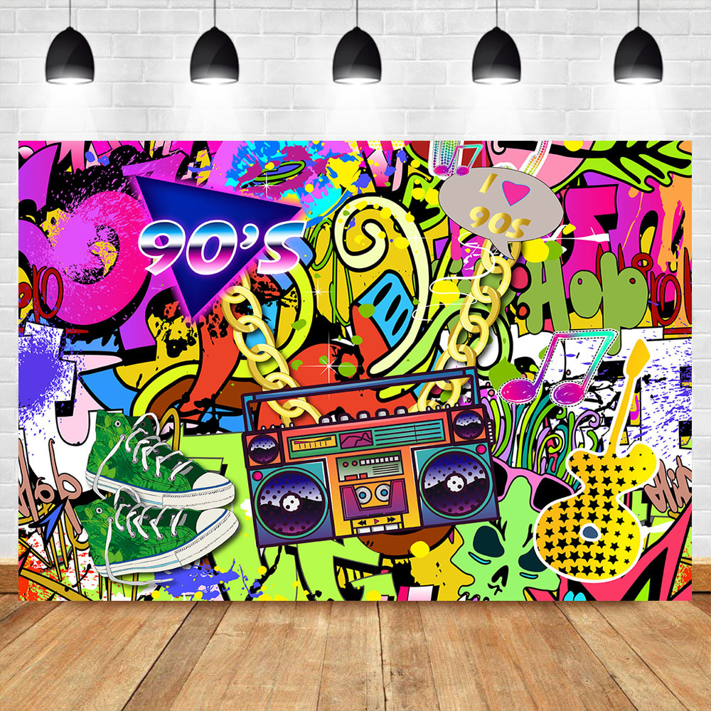 Hip Hop Backdrop I Love 90s Graffiti Wall Photography Background Adult Birthday Back To 90s Party Retro Style Radio Backdrops Background Aliexpress