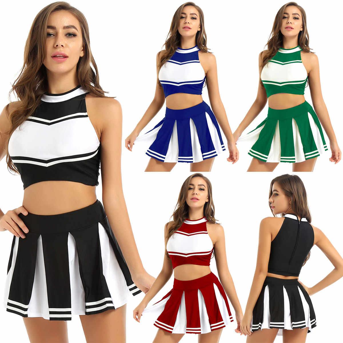 Frauen Cheerleader Cosplay Kostüm Uniform Outfit Stehkragen Ärmel Crop Top mit Mini Plissee Röcke Cheerleading Anzug