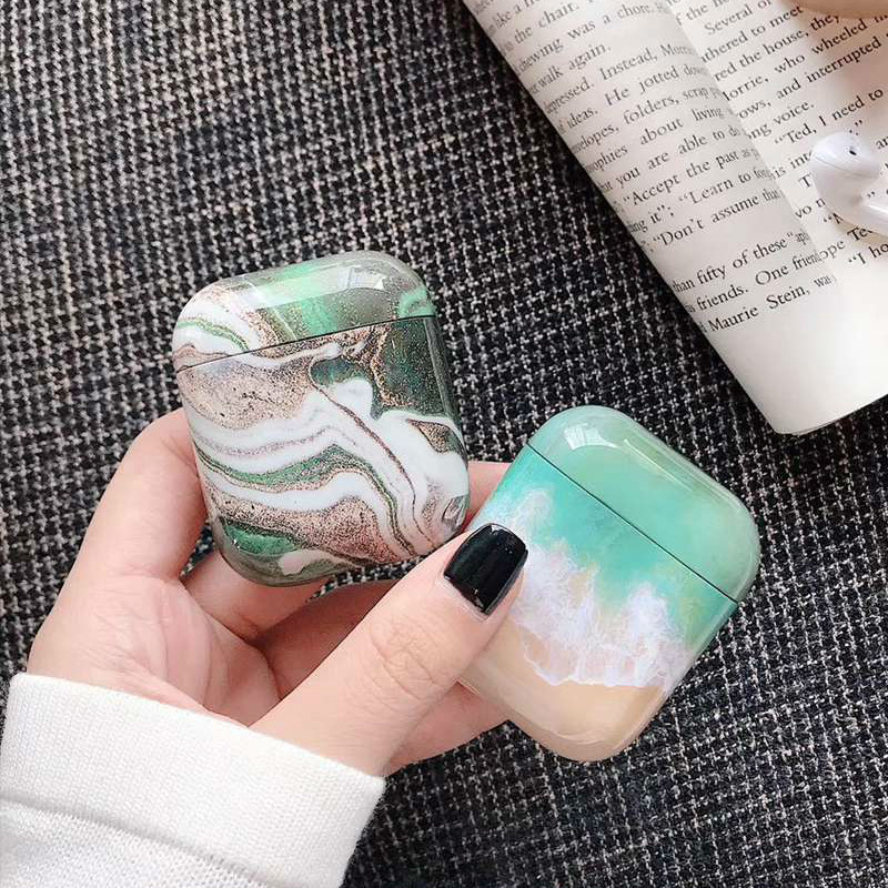 Headphone Case For Airpods 2 Case Luxury Avocado Marble Earphone Case For Apple Air Pods Earpods Protector Cover Accessories