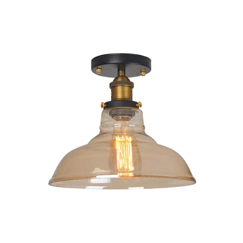 Vintage Ceiling Light Glass Lampshade Claer/Amber E27 Bulb 110-220V Corridor/Aisle/Balcony/Loft Indoor Lighting LED Ceiling Lamp