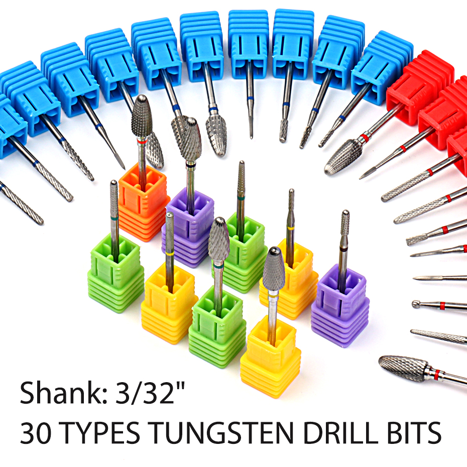 ¡Big Sale30 Type Silver Welded Tungsten Nail Drill Bit Flame Cutters For Manicure Cuticle Cleanerì