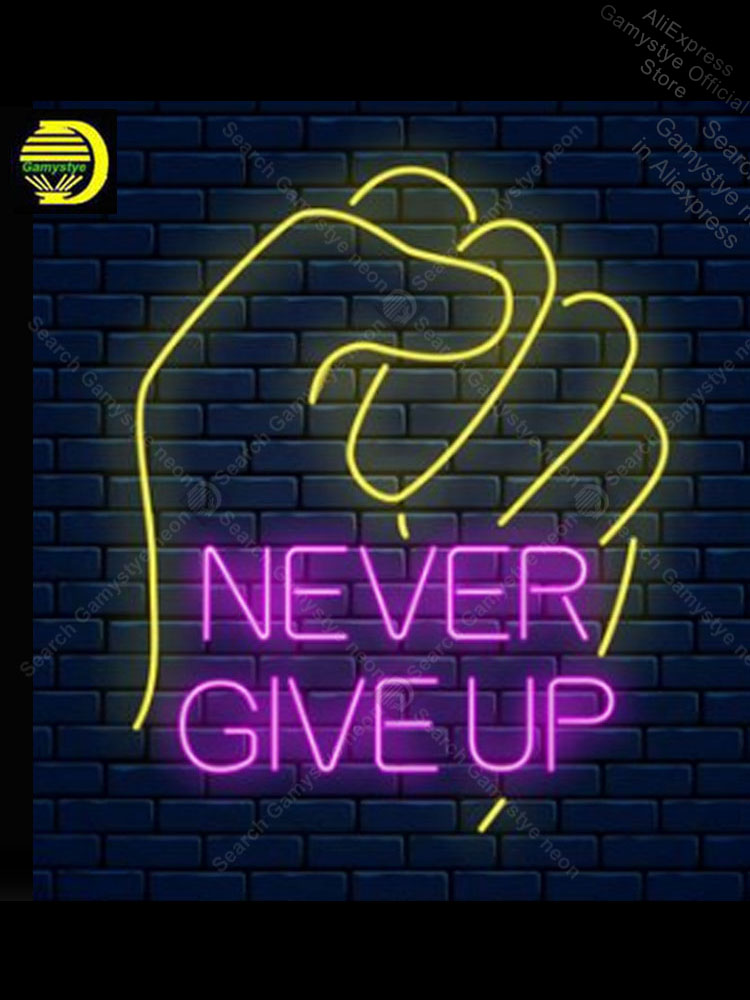 Never Give UP Neon sign Real Glass Tube Bulb Light icons light budweiser neon sign Tube Glass Neon Neon Sign Glass Neon Sign Car image