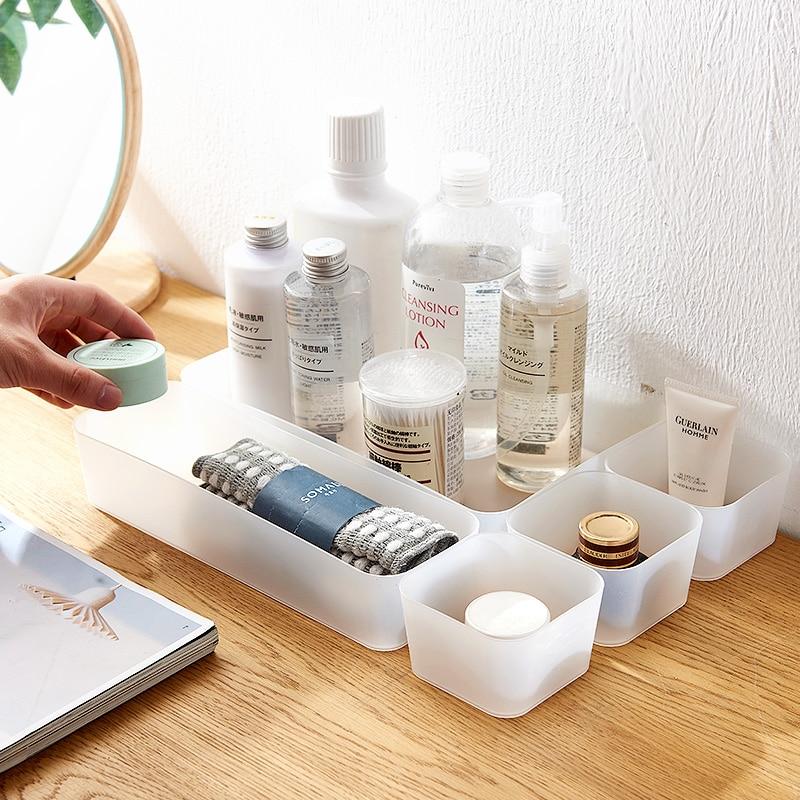 SUNEE Plastic Makeup Organizer Makeup Storage Box Cosmetic Drawer Organizer Jewerly Container Nail Polish Organizer