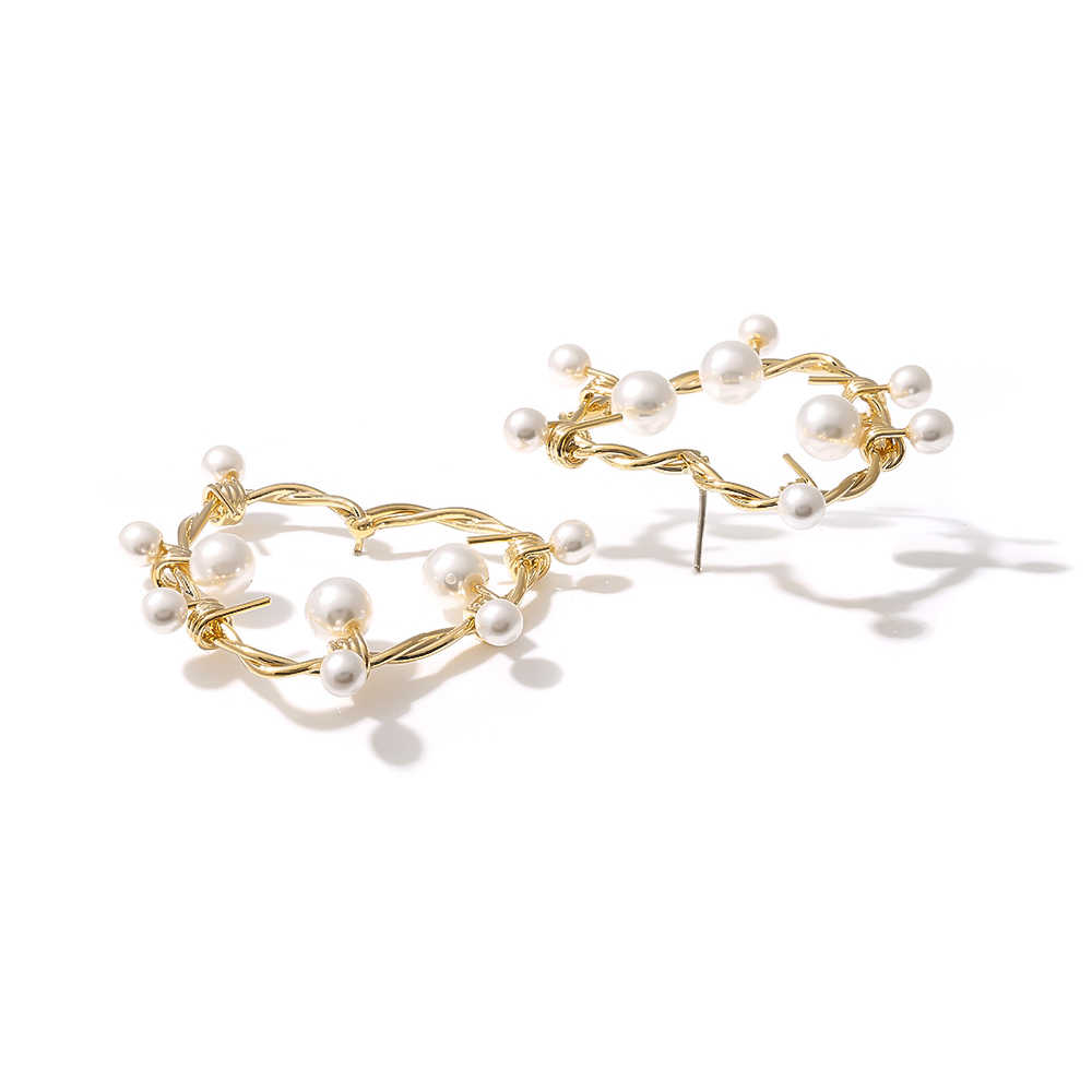 Yhpup brincos do parafuso prisioneiro coração imitação pérolas doce brincos artesanais requintado cobre ouro brincos noiva jóias festa de casamento 925