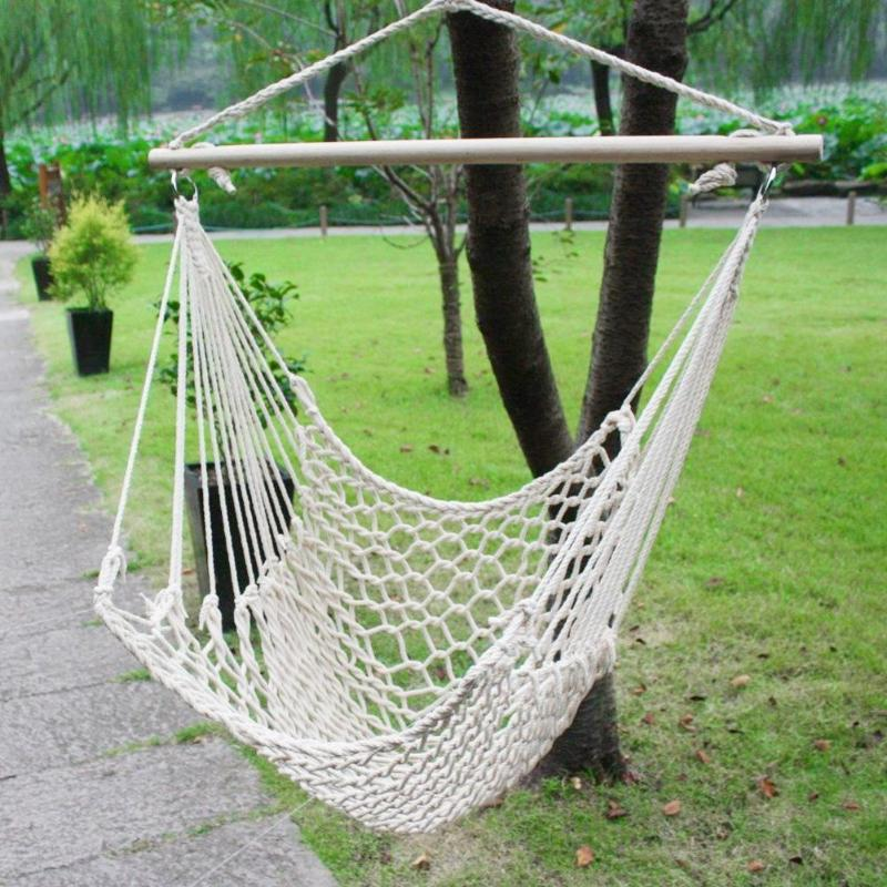 Portable Hammock Chair Wall Hang Swing Rope Outdoor Indoor Garden Kids Seat White Hanging Chair Nordic Style Indoor Hammock New