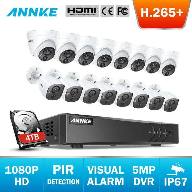 ANNKE 16CH 5MP Lite H.265+ 5in1 CCTV DVR 8pcs 1080P Dome Camera and 8pcs Bullet PIR Detection Camera Video Surveillance System