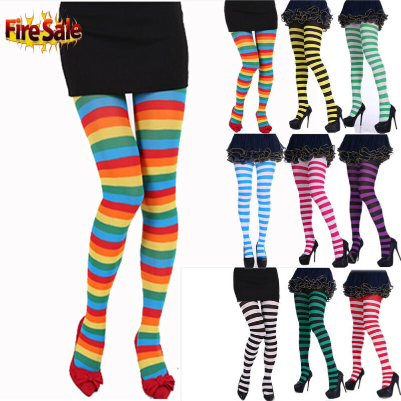 Women Long Striped Tights Rainbow Color Thigh High Tights <font><b>Cosplay</b></font> <font><b>Halloween</b></font> <font><b>Sexy</b></font> Ladies Personality Pantyhose image