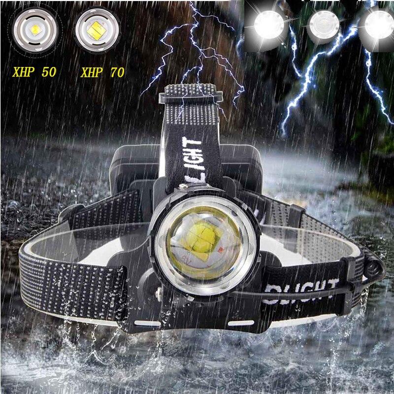 7000 люмен, XHP-70.2, светодиодный налобный фонарь, рыболовная фара, высокая мощность, фонарь, налобный фонарь, масштабируемый, USB фонарь, фонарик, ...