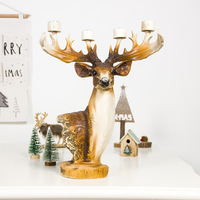Christmas Resin Crafts Elk Candlestick Ornament Candle Desktop Decor Background Exquisite Deer Christmas Decorations for Home