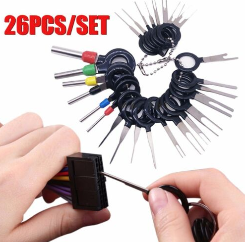 Wire Terminal Removal Tool Stainless Steel Harness Connection Picking Tool Car Electrical Wiring Crimp Connector Pin Extractor