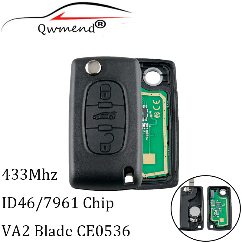 3 Buttons Remote <font><b>Key</b></font> VA2 433MHz Transponder PCF7961 chip for <font><b>Peugeot</b></font> 207 <font><b>208</b></font> 307 308 407 507 607 Car <font><b>Key</b></font> CE0536 ASK image