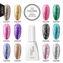 Azure beauty супер Сияющий Гель-лак для ногтей 12 мл УФ-гель для ногтей Платиновые блестки полуперманентный Гель-лак