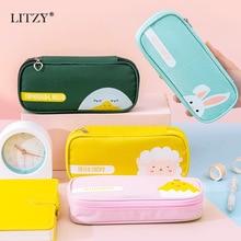Pen-Bag Stationery-Supplies Pencil-Case Animal Large-Capacity Kawaii Zipper Multifunction