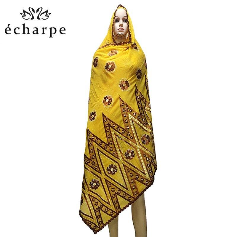 Image 4 - 100% Cotton Scarf African Women Big Scarfs Muslim Women  Embroidery Hijab Scarf Twill Design Headscarf EC123Islamic Clothing