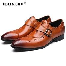 FELIX CHU marka yeni erkek deri ayakkabı toka resmi Brogue erkekler Oxford ofis düğün üzerinde kayma keşiş askısı kahverengi siyah elbise ayakkabı