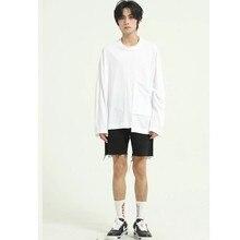 Camisa de manga comprida solta masculina japão coréia streetwear hip hop camiseta casal camisetas
