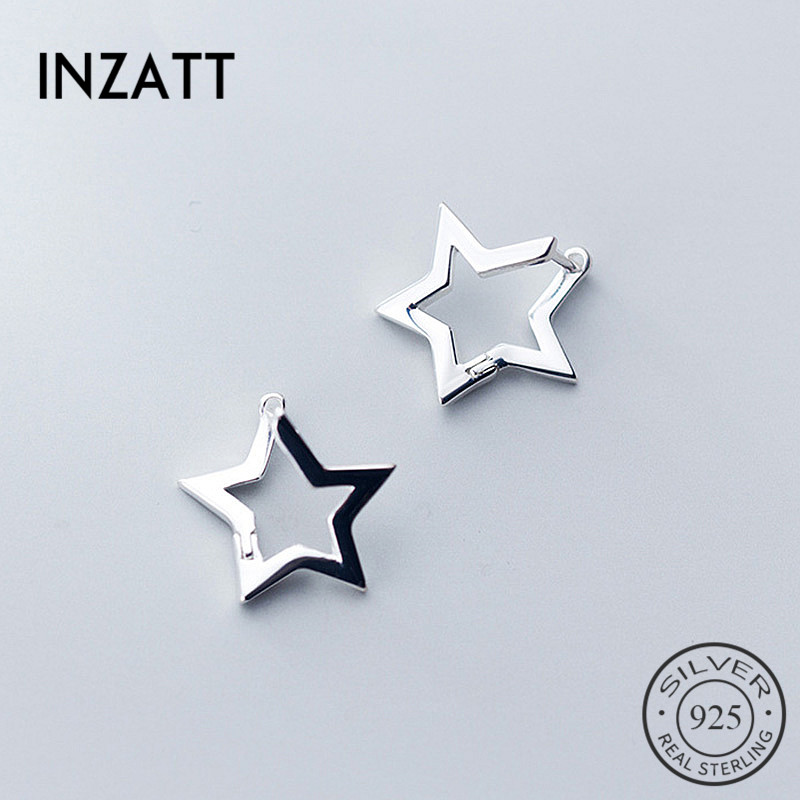 INZATT Real 925 Sterling Silver Minimalist Hollow Star Hoop Earrings For Fashion Women Party OL Fine Jewelry Accessories Gift