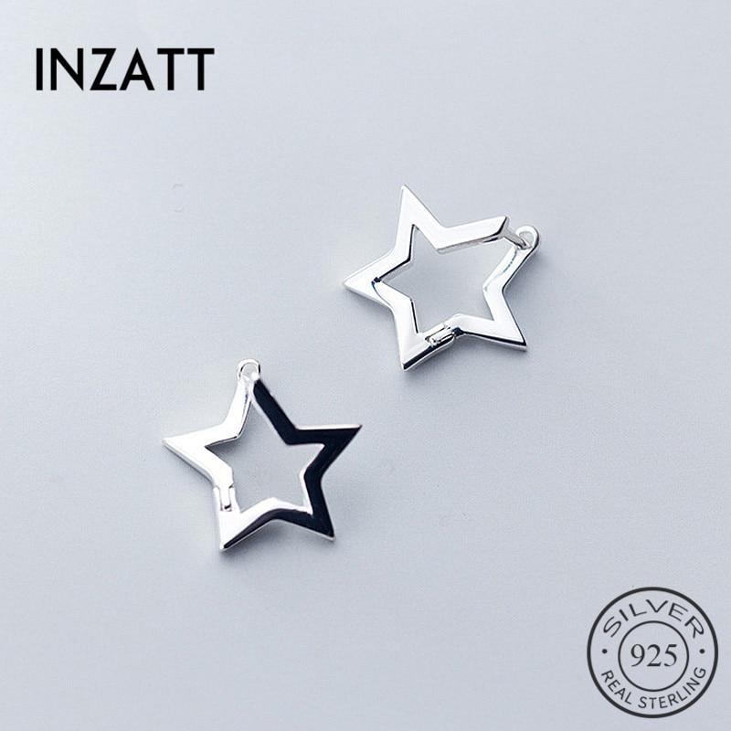 INZATT Real 925 Sterling Silver Minimalist Hollow Star Hoop Earrings For Fashion Women Party OL Fine Jewelry Accessories Gift