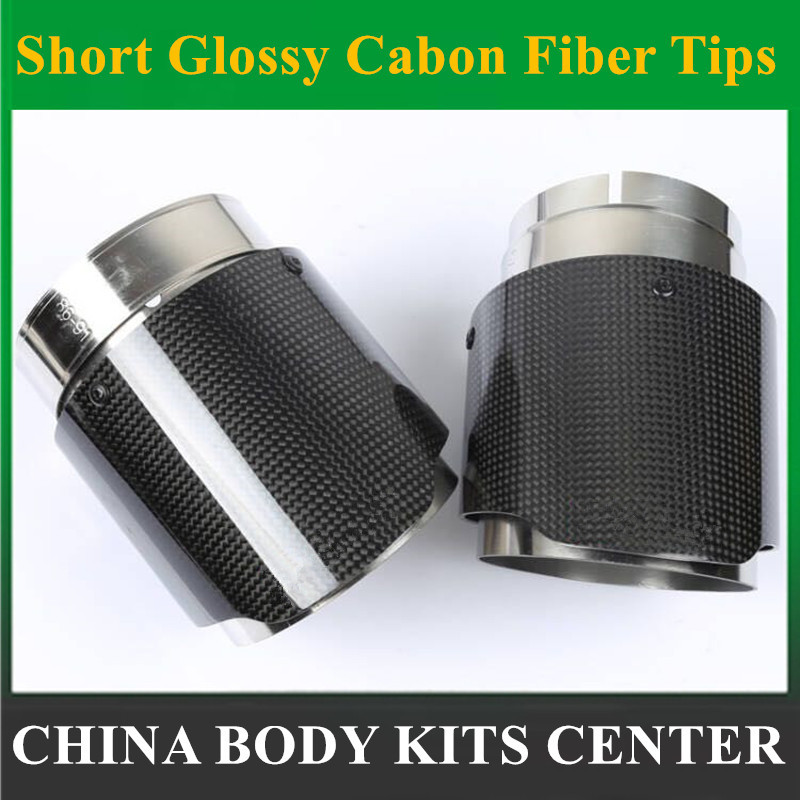 1 Pcs: Short  Ak Exhausts Tips Carbon Fiber Escape Motorcycle Exhaust End Pipes for Car Universal Exhaust Muffler Tail Pip|tips exhaust|tip muffler|tipping car - title=