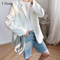 New Casual Autumn Single Breasted Blazer White Women Outerwear Slim Jacket