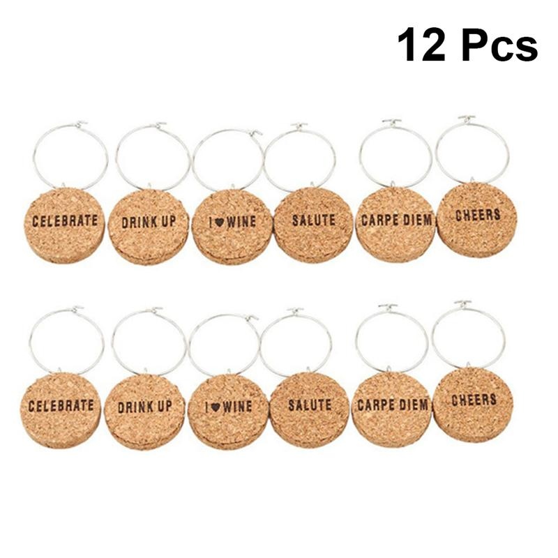 12Pcs Cork Glass Charms DIY Goblet Wine Glass Rings With Wire Hoop Drink Markers For Parties Holidays