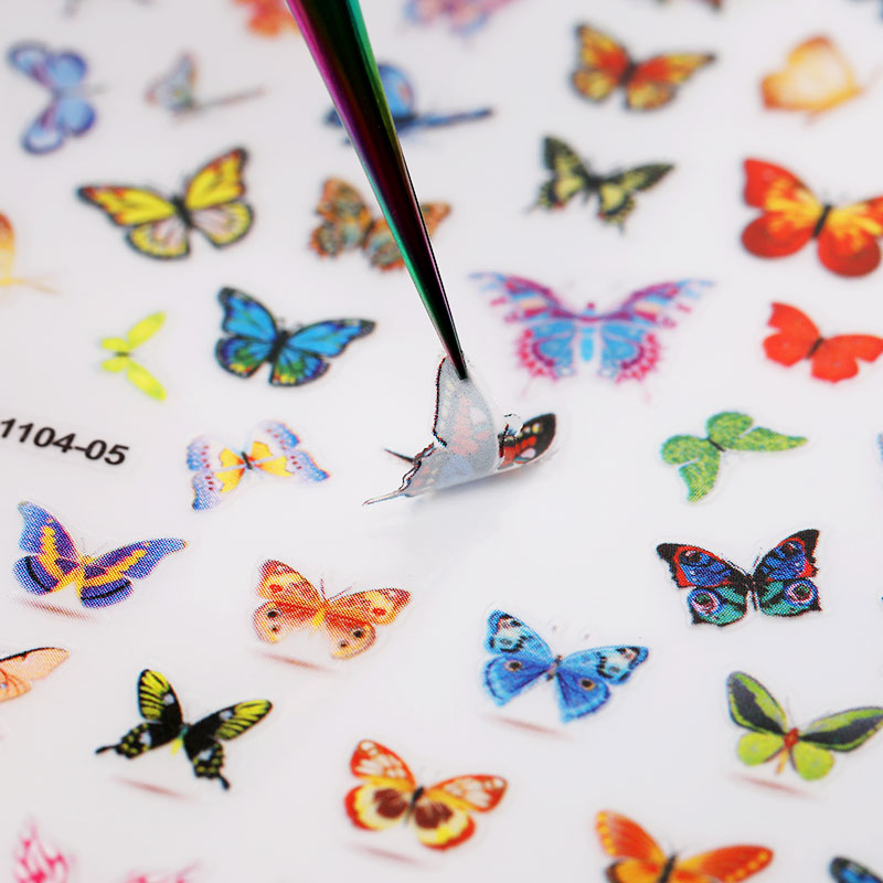 1 Sheet Nail Art 3D Nail Sticker Butterfly Colorful Nail Decals Fairy Tales Nail Transfer Decals Nail Decorations DIY Design
